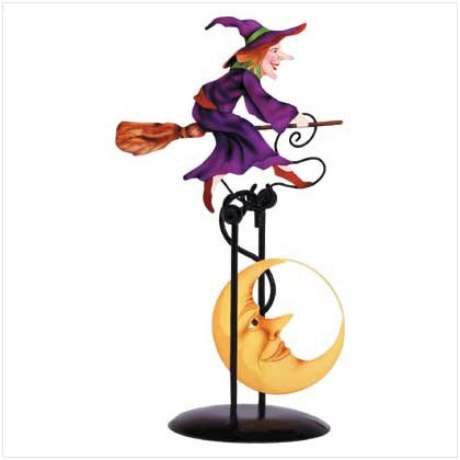 Witch Flying Over the Moon Metal Swinging Sculpture