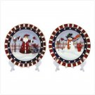 Christmas Plate 2 pc Set With Display Stands