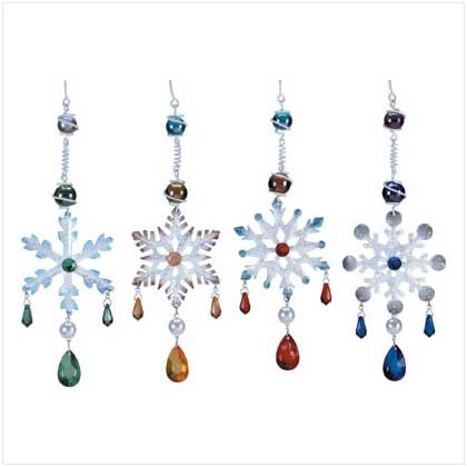 Jeweled Snowflake Ornaments Set of 4