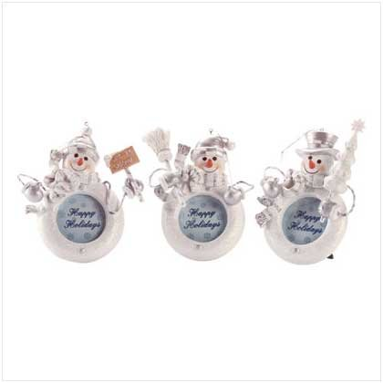 Snowman Photo Frame Ornaments Set of 3