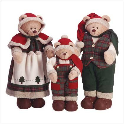 3 PC Festive Santa Bear Family