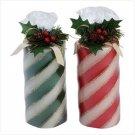 Candy Cane Pillar Candle Set of 2