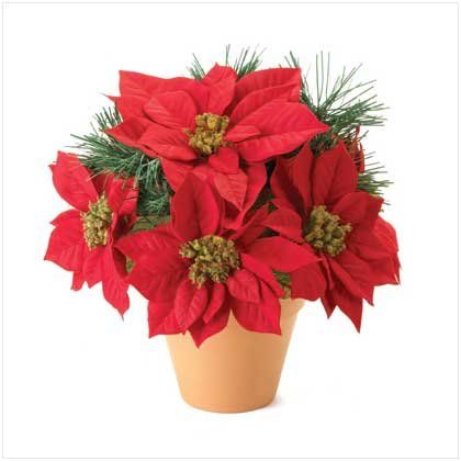 Realistic Artificial Poinsettia Plant