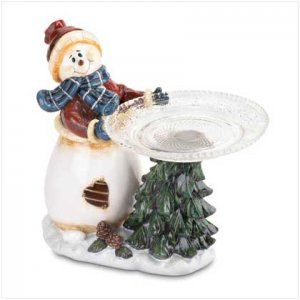 Snowman Holding Plate Sweets Dish