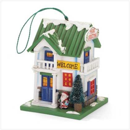 Merry Christmas Wood Birdhouse Ornament