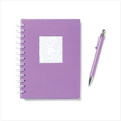 Purple Spiral Note Book with Matching Pen Set