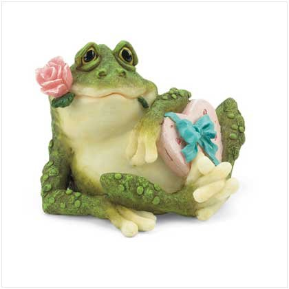 Frog with Rose and Heart Shaped Box Figurine