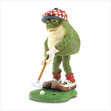Golfing Frog Bobble Figurine