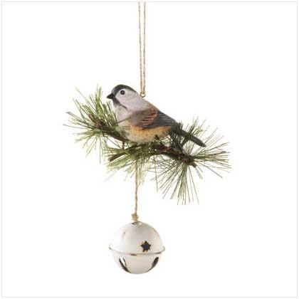 Chickadee on Bell Doorknob Hanger