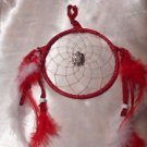 Red Dreamcatcher Handcrafted Native American Art Feather Sinew Rings Leather