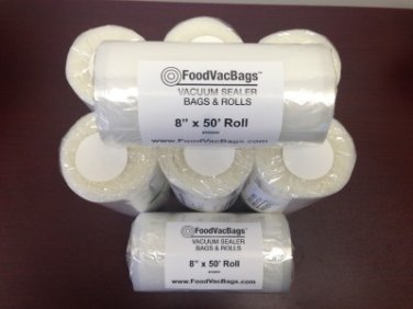 Eight 8x50 FoodVacBag Rolls of Universal Food Storage Bags for Vacuum Sealers