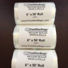 3 FoodVacBags 6x50 Roll of Universal Food Storage Bags for all Vacuum Sealers
