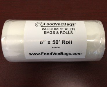1 FoodVacBags 8x50 Roll of Universal Food Storage Bags for all Vacuum Sealers