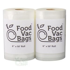 """2 FoodVacBags 6"""" X 50' Rolls 4 mil Vacuum Sealer Bags! Food Saver & $$ Saver!!"""