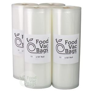4 FoodVacBags 11x50 Rolls Food Storage Bags for ALL Vacuum Sealers! Food Saver!