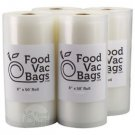 4 FoodVacBags Embossed 8x50 Rolls Vacuum Sealer Food Storage Bags! Food Saver!