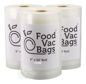3 FoodVacBags 6x50 Roll of Food Storage Bags! 150 FEET = Food Saver Money Saver!