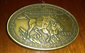 Running Strong For American Indian Youth 1997 Belt Buckle Bison Buffalo