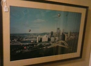 Large Norman Schumm Framed Photo Art of hot air ballons over Pittsburgh Skyline