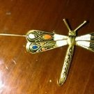 Vintage 1940's Style SPAIN Damascene Figural DragonFly Bug Brooch Pin Design