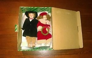 The San Francisco Music Box Co Christmas SET 2 Porcelain Dolls Boy Girl Orig Box