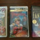 Disney VHS lot Pinocchio snow white, Fantasia Sealed first time & final release!