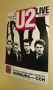 Rare U2 The Unforgettable Fire concert 1984 HAMBURG poster Edge Bono Larry Adam!
