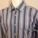 Bugatchi Uomo Mens XL Striped Long Sleeve Button Front Casual Dress Shirt