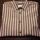 Calvin Klein Mens Large Gray Striped Long Sleeve Button Front Dress Shirt