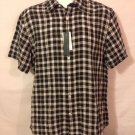 Perry Ellis Mens Medium Plaid Checkered Short Sleeve  Casual Dress Shirt