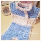 Crocheted Baby Boy Kimono Set in Blue and White - Jeffrey