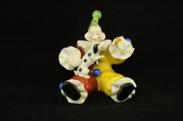 Orion Collectible Clown with Spotted Dog Colorful Made in   Japan