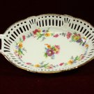 German Reticulated Porcelain Oval Centerpiece Bowl with Floral Design