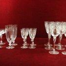 Crystal Stemware etched Laurel Leaf  Wine Champagne Pilsner Cordial