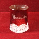 Antique EAPG Souvenir  Ruby Flash Glass Cup Manistee