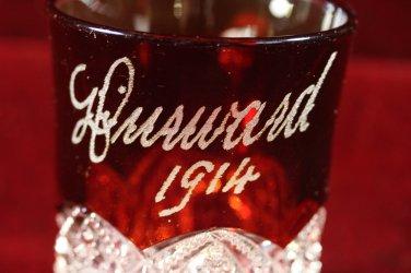 Antique EAPG Souvenir Ruby flash Shot Glas Mug 1914