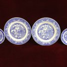 Royal China Willow Ware Blue Willow Plates four Vintage underglaze