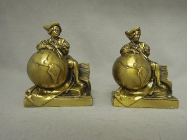 Christopher Columbus Bookends Brass World Globes Vintage
