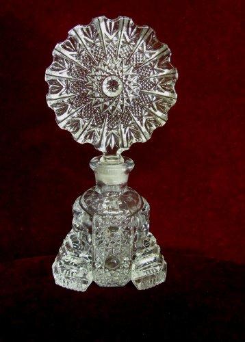 Vintage Art Deco Perfume Bottle Hobstar Topper Glass Stopper