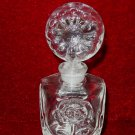 Vintage I Rice Perfume Bottle Floral Topper Glass Stopper