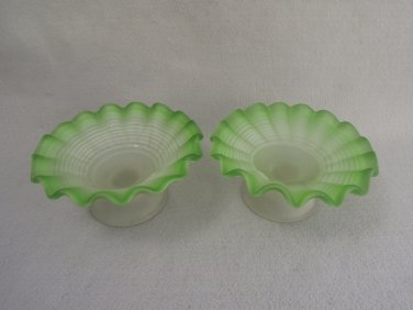 Vintage Glass Dishes Frosted Green White Swirl Pattern Ruffled Rims