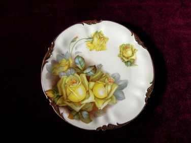 Antique Prov Saxe China Plate Yellow Roses Gilded Trim Es Germany