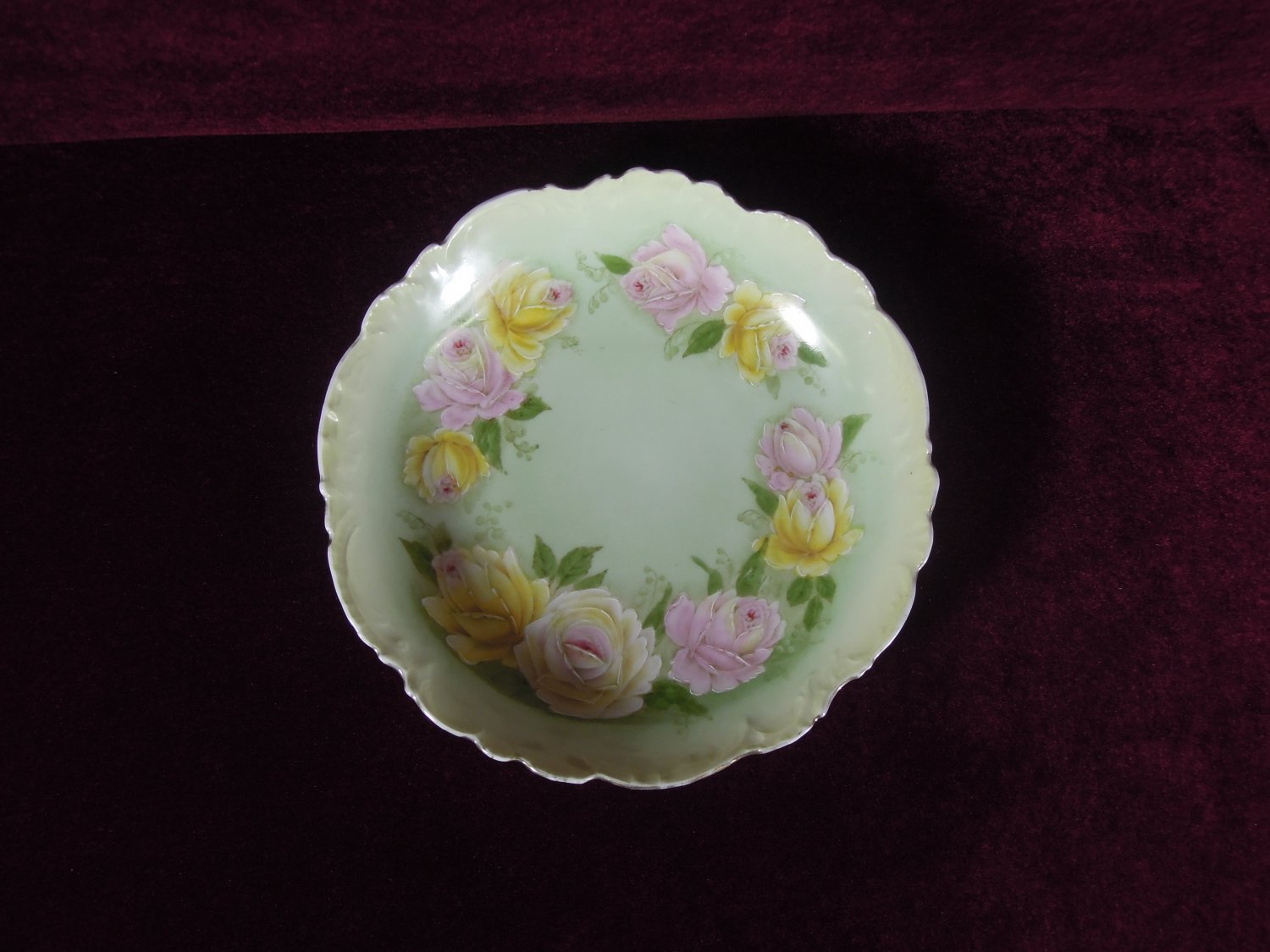 Antique P T Germany Porcelain Plate Roses