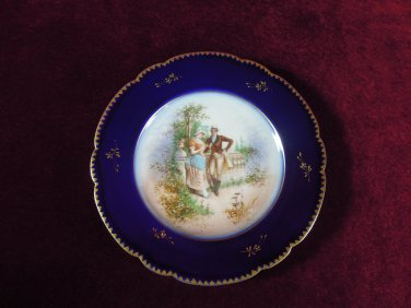 Antique Limoges Cobalt and Gold Plate Courting Couple