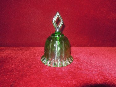 Fenton Diamond Optic Green Glass Bell Rare to Find This Color