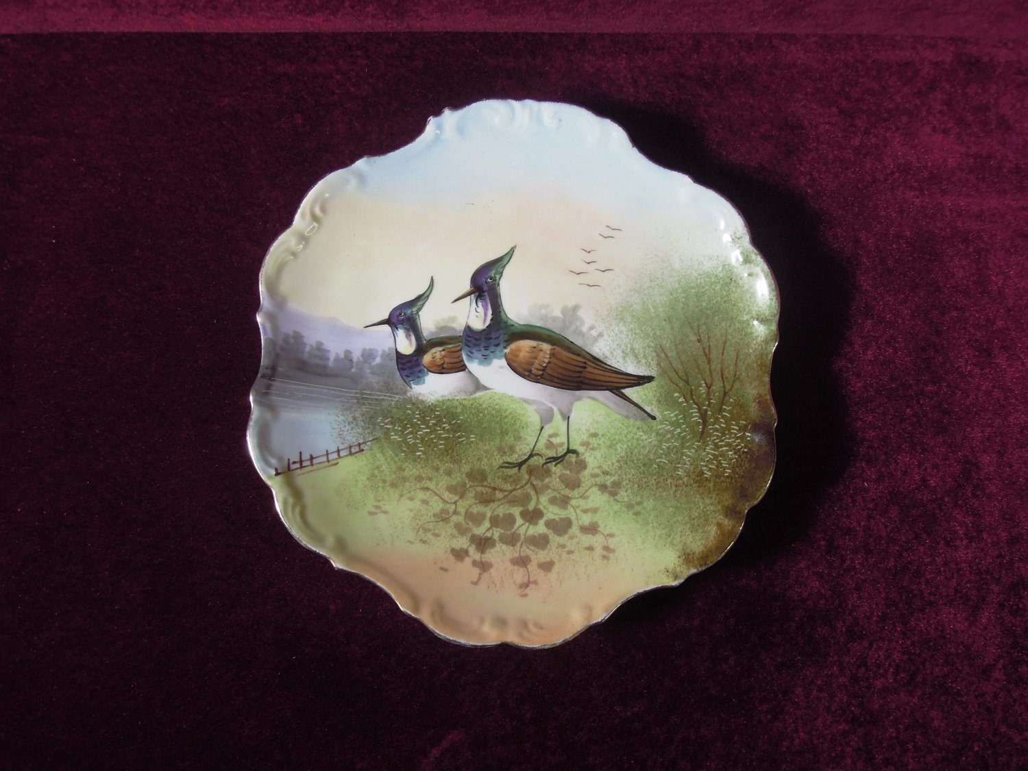 Limoges Game Birds Plate Scalloped Embossed Collectible
