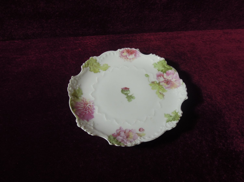 Antique German Porcelain Cabinet Plate Scalloped Edge Cabbage Flowers