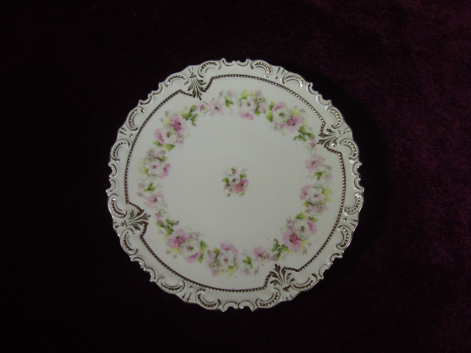 Antique Cabinet Plate Scalloped Edges Floral Gold Tim