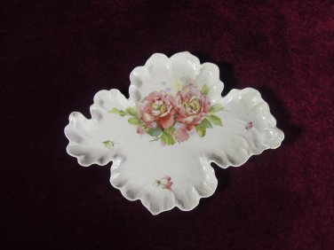 Antique Leaf  Candy Dish Roses Scalloped Edges