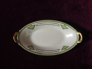 Antique Limoges France Candy Dish Gold Handles Green and White
